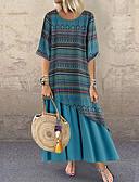 hesapli Büyük Beden Elbiseleri-Kadın's Temel Kombinezon Elbise - Geometrik, Kırk Yama Midi