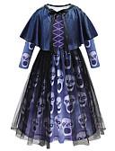 povoljno Haljine za djevojčice-Djeca Djevojčice Vintage Boho Geometrijski oblici Halloween Dugih rukava Midi Haljina Plava