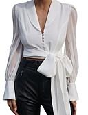 رخيصةأون بلوزات نسائية-المرأة اليومية الاتحاد الأوروبي / لنا حجم بلوزة ضئيلة - الصلبة اللون الخامس الرقبة الأبيض
