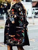 cheap Women's Coats & Trench Coats-Women's Daily Fall & Winter Regular Coat, Plants Collarless Long Sleeve Polyester Black