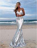זול שמלות ערב-בתולת ים \ חצוצרה רצועות ספגטי שובל סוויפ \ בראש נצנצים נוצץ וזוהר ערב רישמי שמלה עם נצנצים על ידי LAN TING Express
