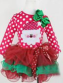 זול שמלות לתינוקות-שמלה שרוול ארוך דפוס גיאומטרי / חג מולד בסיסי בנות תִינוֹק
