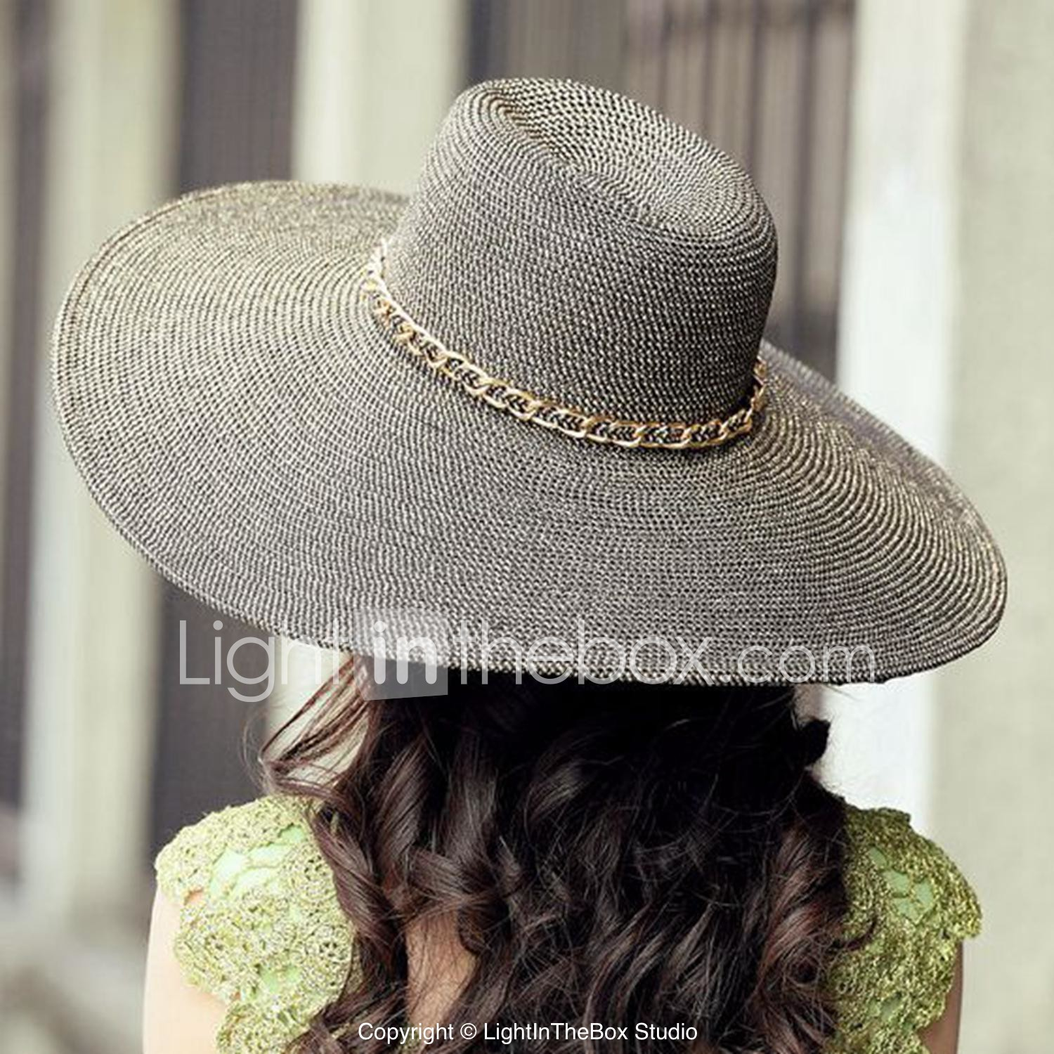 Exported Raffia Straw Ladies Outdoor Casual Beach Hats With Gold Chain   01246194 f6dbcd5c7c5