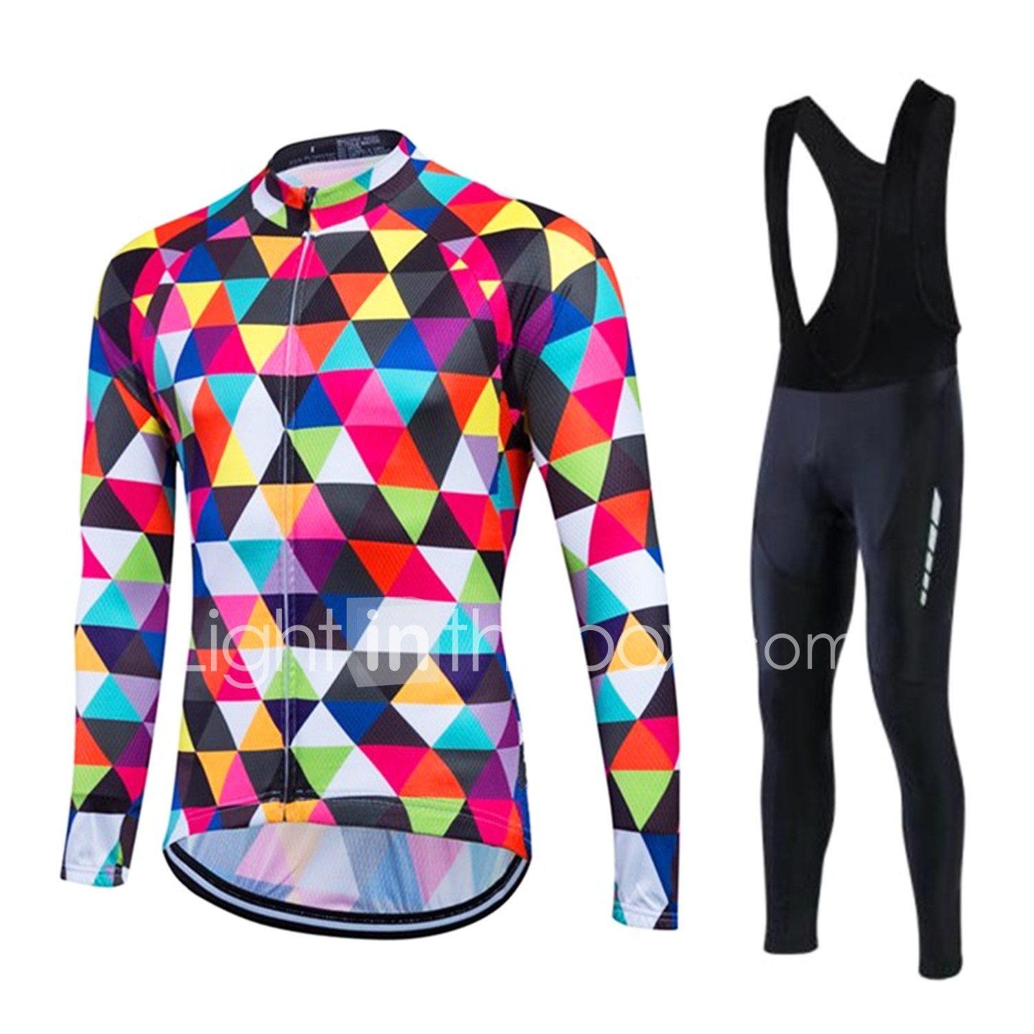 e2b30cad5 Fastcute Men s Long Sleeve Cycling Jersey with Bib Tights - White ...