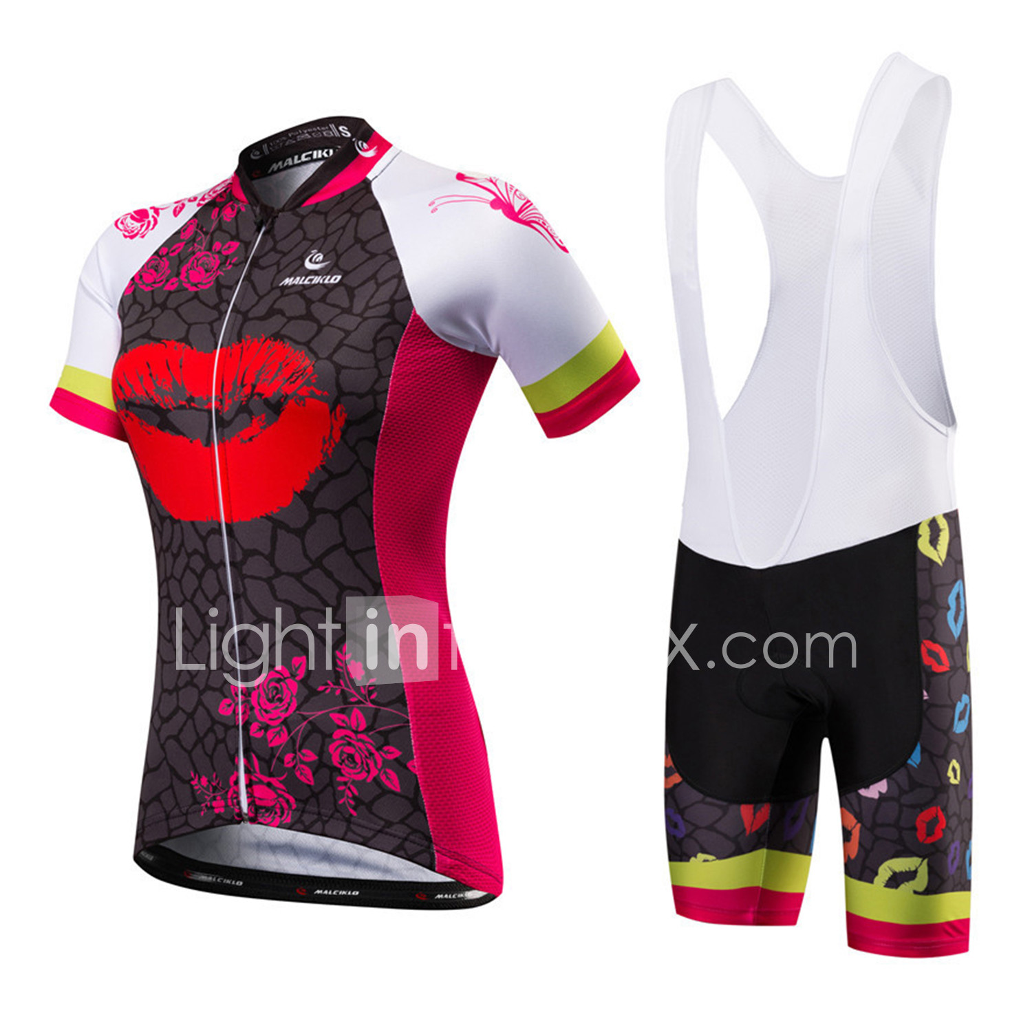 Malciklo Women s Short Sleeve Cycling Jersey with Bib Shorts - Red   White  Black   Red British Plus Size Bike Jersey Bib Tights Breathable Quick Dry  ... 71f111d44