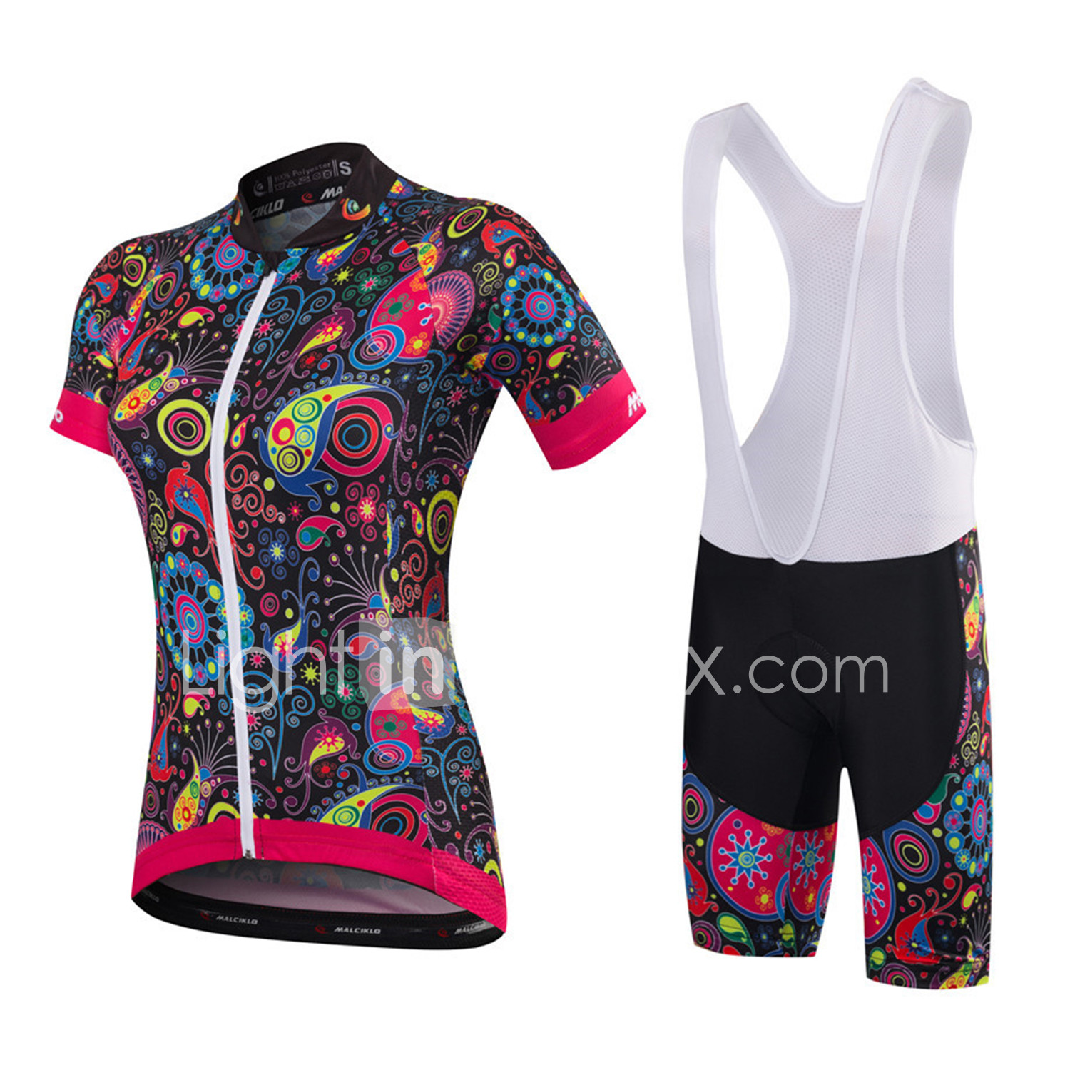 afffd204ab6 Malciklo Women s Short Sleeve Cycling Jersey with Bib Shorts - White Black  Floral   Botanical Plus Size Bike Clothing Suit Breathable 3D Pad Quick Dry  ...
