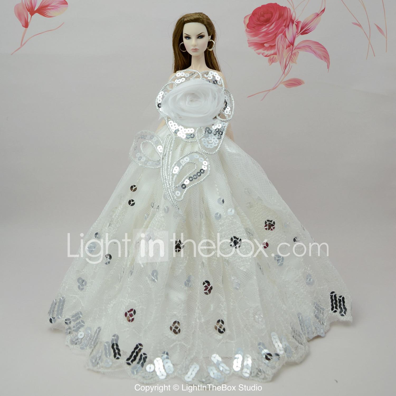 Fille Jouets Robes Pour De Barbie Coton Robe Blanche Poupée Polyester Diy 80PwnOk