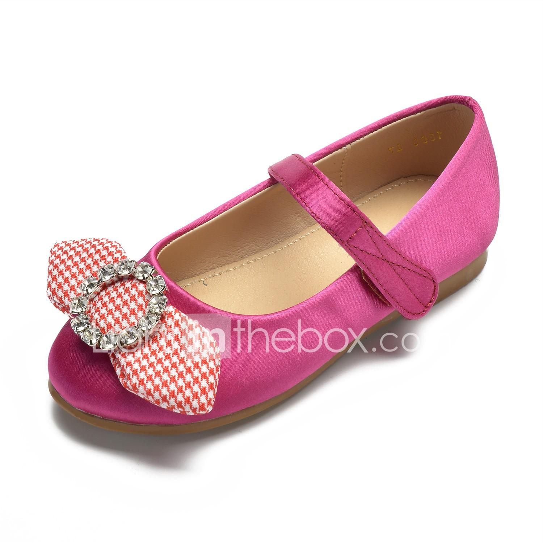 e6a65f9f706 Girls  Shoes Satin Spring   Summer Ballerina   Flower Girl Shoes Flats  Rhinestone   Sparkling Glitter   Buckle for Kids Fuchsia   Green   Pink    Wedding ...