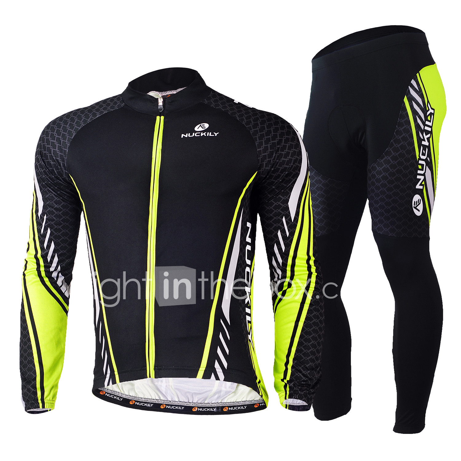 Nuckily Men s Long Sleeve Cycling Jersey with Tights - Green Bike Clothing  Suit c5ac52479