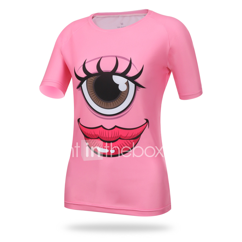 0d492054a XINTOWN Women s Short Sleeve Cycling Jersey - Pink Eye Bike Tee   T-shirt  Top Breathable Quick Dry Ultraviolet Resistant Sports Elastane Lycra Mountain  Bike ...