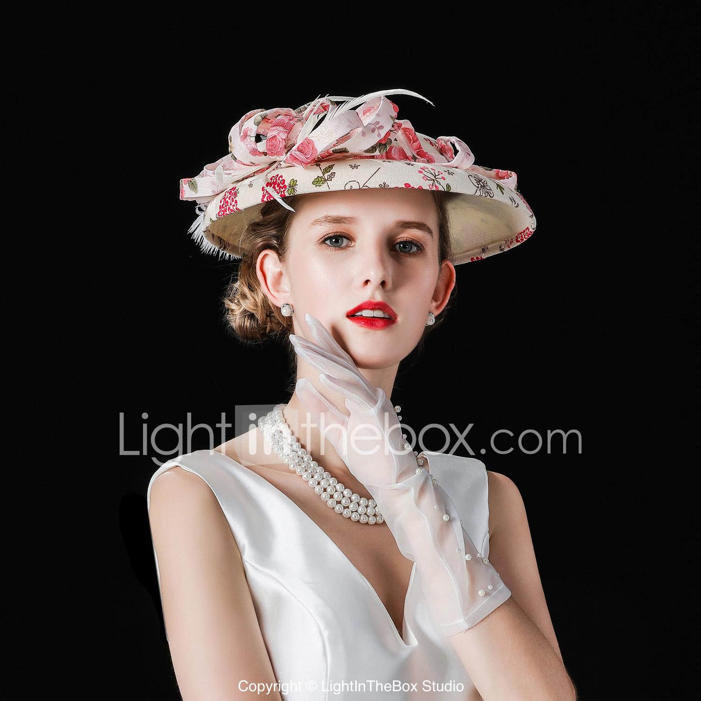 Flax Velvet Flocked Hats With Imitation Pearl Fl 1 Piece Wedding Party Evening Headpiece 07018067
