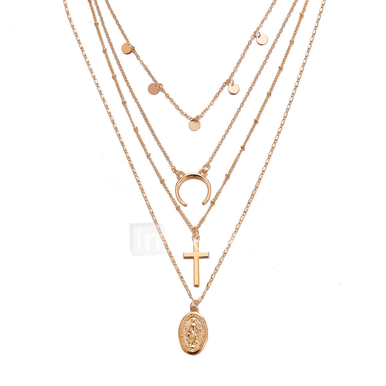 28e9a50a13b8 Mujer Multi capa Collares en capas Cruz MOON cuerno doble Europeo De moda  Moda Cool Dorado