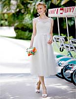 Cheap Plus Size Wedding Dresses A Line Princess Jewel Neck Tea Length Lace Tulle