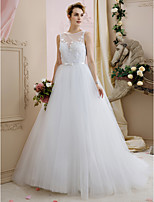 Ball Gown Illusion Neckline Chapel Train Lace Tulle Wedding Dress With Appliques Bows