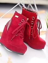 levne Shoes Trends-Dámské Semiš Podzim zima Boty Skryté pata Kotníčkové  Černá   Žlutá   2e03afa346