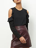 7ebe74c2d41c Χαμηλού Κόστους Γυναικείες Μπλούζες-Γυναικεία Μπλούζα Μονόχρωμο Λεπτό  Θαλασσί XL