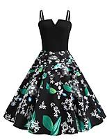 95ea2ce00635 Χαμηλού Κόστους Γυναικεία Φορέματα-Γυναικεία Κομψό στυλ street Swing Φόρεμα  - Φλοράλ Συνδυασμός Χρωμάτων