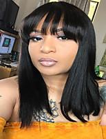 voordelige -Human Hair Capless Pruiken Echt haar Natuurlijk golvend Gelaagd kapsel Stijl Dames / sexy Lady / nieuw Zwart Gemiddelde Lengte Zonder kap Pruik Dames / Allemaal / Afro-Amerikaanse pruik