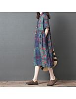 Χαμηλού Κόστους -Γυναικεία Βασικό Πουκάμισο Φόρεμα Patchwork Στάμπα Ως το Γόνατο