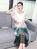 Χαμηλού Κόστους -Γυναικεία Βαμβάκι Φαρδιά Γραμμή Α Φόρεμα Μακρύ