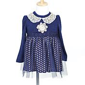 Una línea princesa corto / mini vestido de niña de flores - tul de lana de tela de manga larga cuello joya con perla