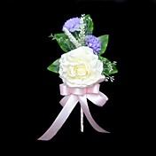 ウェディングブーケ フリーフォーム ボタン ブートニエール 結婚式 パーティー ・夜 サテン コットン アイボリー 3.94inch(約10cm)