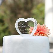 Decoración de Pasteles Tema Jardín Corazones Pareja Clásica Cristal Boda Despedida de Soltera Con Caja de Regalo