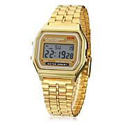 Hombre Reloj digital Reloj de Pulsera Digital Despertador Calendario Cronógrafo LCD Aleación Banda Dorado