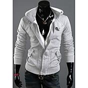DJJMメンズファッション新繊細なフード付きフリースレジャー綿ネルフリースコート(ライトグレー)