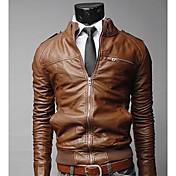 Vの水平ジッパー短い痩身ジャケット(ブラウン)