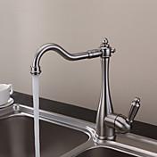 伝統風 バー/準備 デッキマウント セラミックバルブ 一つ シングルハンドルつの穴 for  ブラッシュドニッケル , 水栓