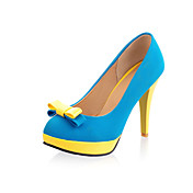 Mujer-Tacón Cono-Confort-Tacones-Boda / Exterior / Vestido-Semicuero-Azul / Amarillo / Rojo / Naranja