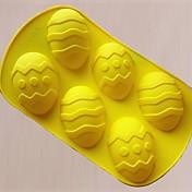 6 Agujeros Huevos de Pascua Forma Pastel de moldes, materiales de silicona, de gran tamaño, color al azar
