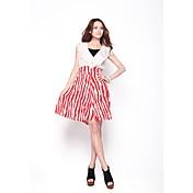 Mujeres Zoely dulce cintura alta Ruffle Abstractos de línea A-Line Vestido ajustado 101122L086