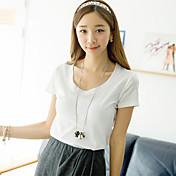 [Pashong]女子ラウンドカラーベーシックソフトTシャツ