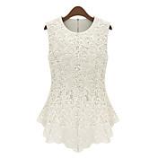 MILU女子欧州エレガントレースノースリーブシャツ(ホワイト)