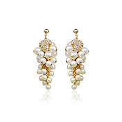 Fabuloso aleación de oro plateado con los pendientes de gota perlas de imitación de las mujeres (más colores)