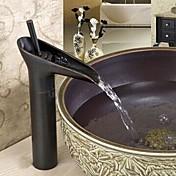 Tradicional Conjunto Central Cascada Válvula Cerámica 1 Orificio Sola manija Un agujero Bronce Aceitado , Baño grifo del fregadero