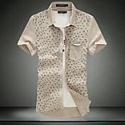 Hombre Casual/Diario Trabajo Tallas Grandes Camisa Estampado Manga Corta Algodón