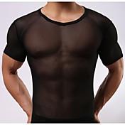 メンズ白/黒の下着セクシーなネット糸透明半袖
