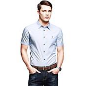 メンズ カジュアル/普段着 ワーク シャツ ソリッド ストライプ コットン 半袖