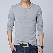 Men's Korean Style Pure Colored  Long Sleeves T-shirt