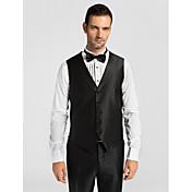 chaleco de traje de corte poliéster negro sólido a medida breasted más botones