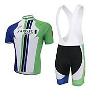 XAOYO Maillot de Ciclismo con Shorts Bib Hombre Manga Corta Bicicleta Sets de Prendas Secado rápido Transpirable Bolsillo trasero