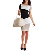 GGN女性のコントラストカラーボディコン半袖ワンピース