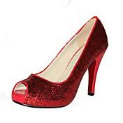 Mujer-Tacón Stiletto-Tacones / Punta Abierta / PlataformaOficina y Trabajo / Vestido / Fiesta y Noche-Semicuero-Rojo