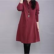 Women's Mock Neck Plus Size Long Sleeve Dress (More Colors)