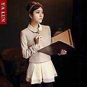 女性 春 / 秋 Tシャツ スーツ ソリッド ブラウン コットン 長袖 ミディアム