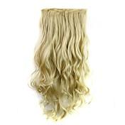 24 polegadas 120g fibra sintética resistente ao calor longo clipe encaracolado louro em extensões de cabelo com 5 clips