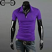 camisa de cuello bordado ciervos moda casual de los hombres de pie chicheng® polo delgado cuello más tamaño xxxl